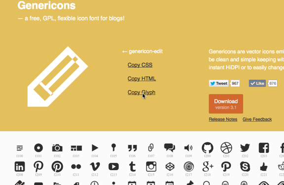 Genericons - a free, GPL, flexible icon font for blogs!-1