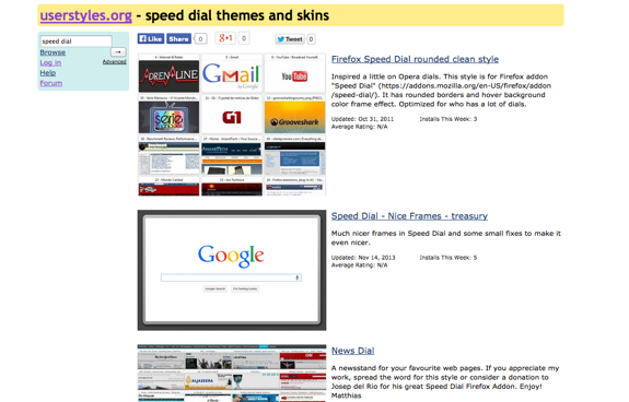 speed dial themes and skins - userstyles.org