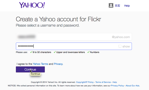 Create a Yahoo account for Flickr-1-1