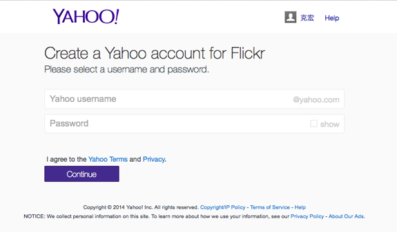 Create a Yahoo account for Flickr